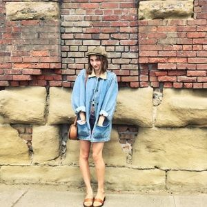 Vintage Oversized Denim Jacket w/ Corduroy Collar